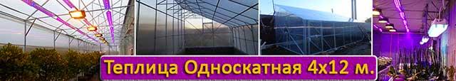 теплица с односкатной крышей 4х12