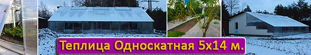 теплица с односкатной крышей 5х14